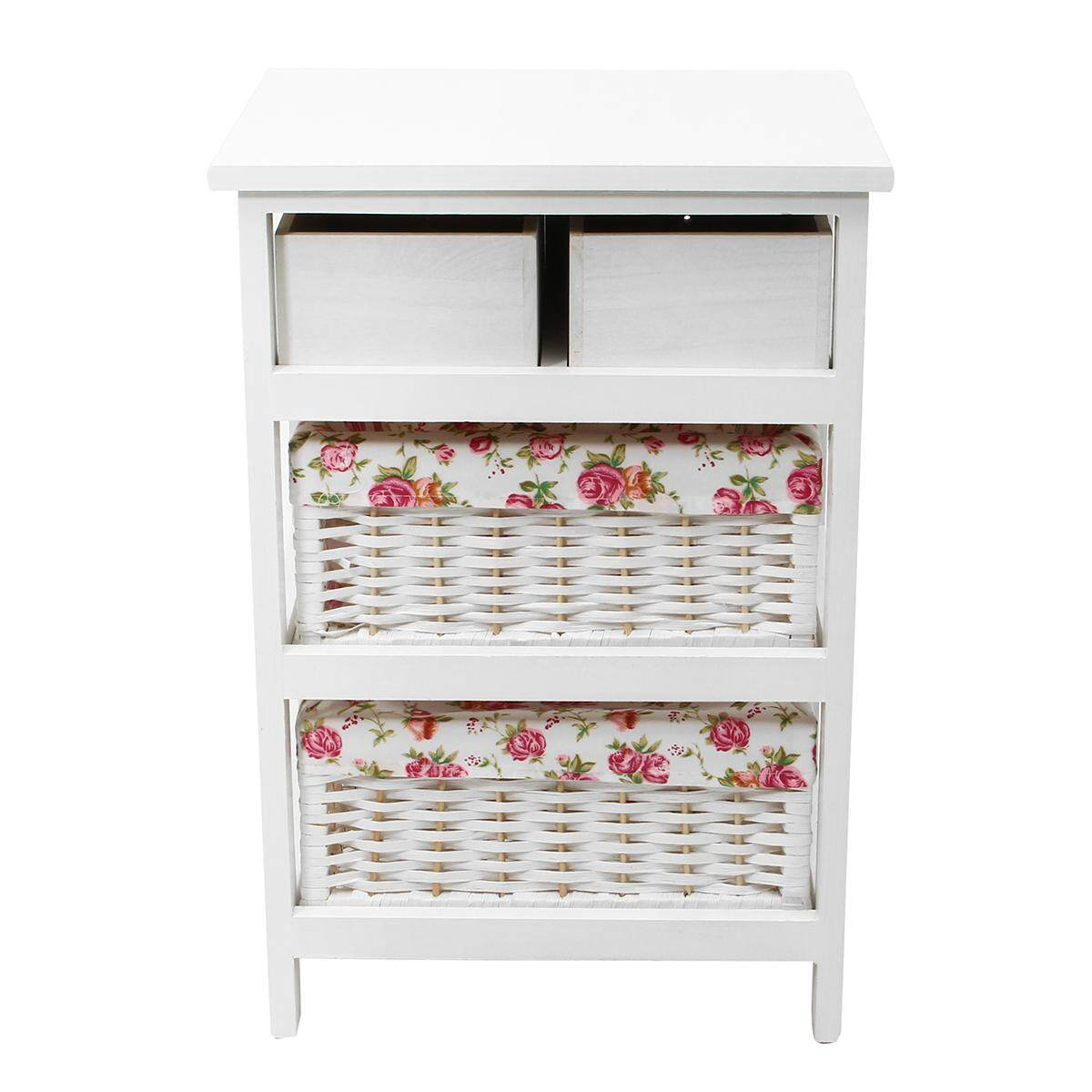 White Wicker Basket Storage Unit Chic Bedside Table Cabinet Chest of Drawers Three floors