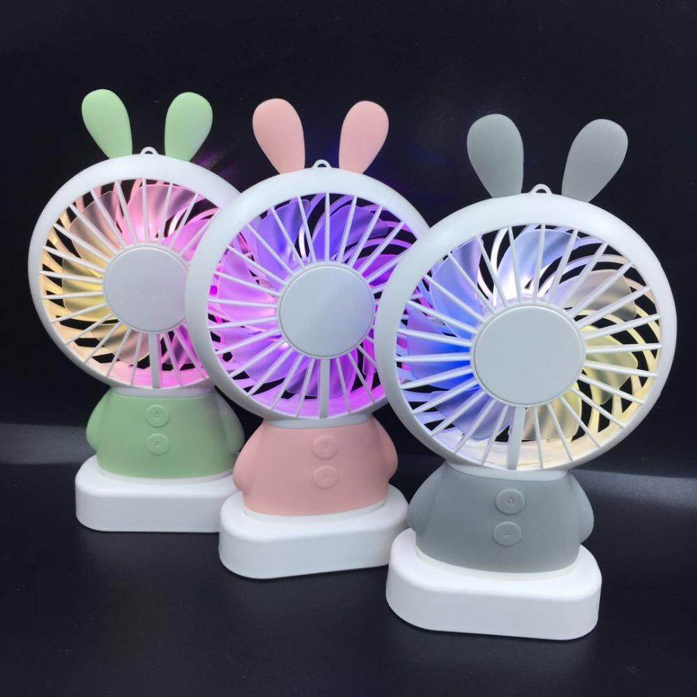 2018 USB LED Rechargeable Rabbit Design Mini Handheld Fan
