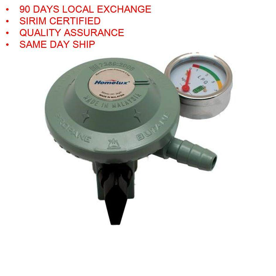 1pc Sirim Certified Homelux Gas Regulator with Meter Gauge. Ship in 6 Hours ! (Grey)