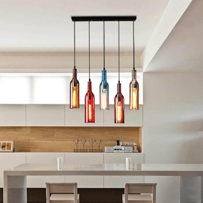 Creative art bottle 5 heads multicolor chandelier industrial wind loft bar personality coffee shop ceiling light pendant lamp