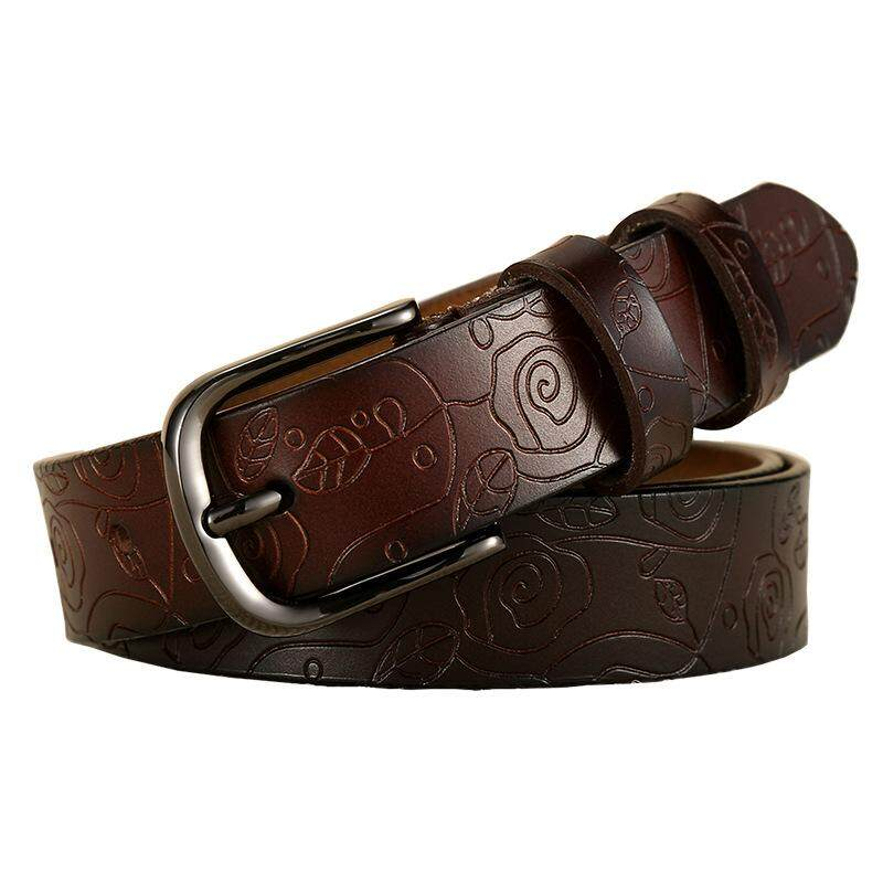 New Retro Belt Ladies Leather Fashion Retro PU Leather Belt Fashion Carved Embossed Wild Ladies Belt 115