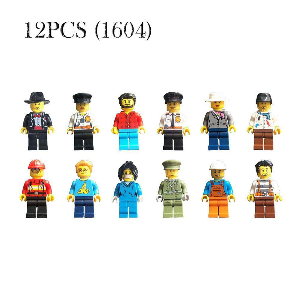 12pcs/set Buildable Model Kids Figure Building Block Worker Police Fit Lego By Yongzhiliu.