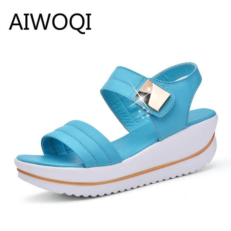 AIWOQI Summer Women's Heel Sandals Slope Elegant Shoes Shallow Peep-toe Platform Wedges Shoes LZZ199 - intl