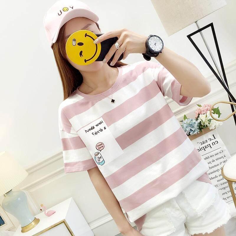 Versi Korea Musim Panas Baru Slim T-shirt Tipis Bergaris Lengan Pendek T-shirt Wanita INS Super Jaket Api Tembakan Nyata-Intl