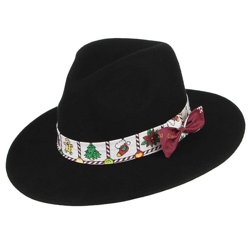 96f3e1b4c5b Christmas Men Fedoras Hats With Ribbon and Bow Classical Gentleman Jazz Cap  Fall Winter Warm Wide