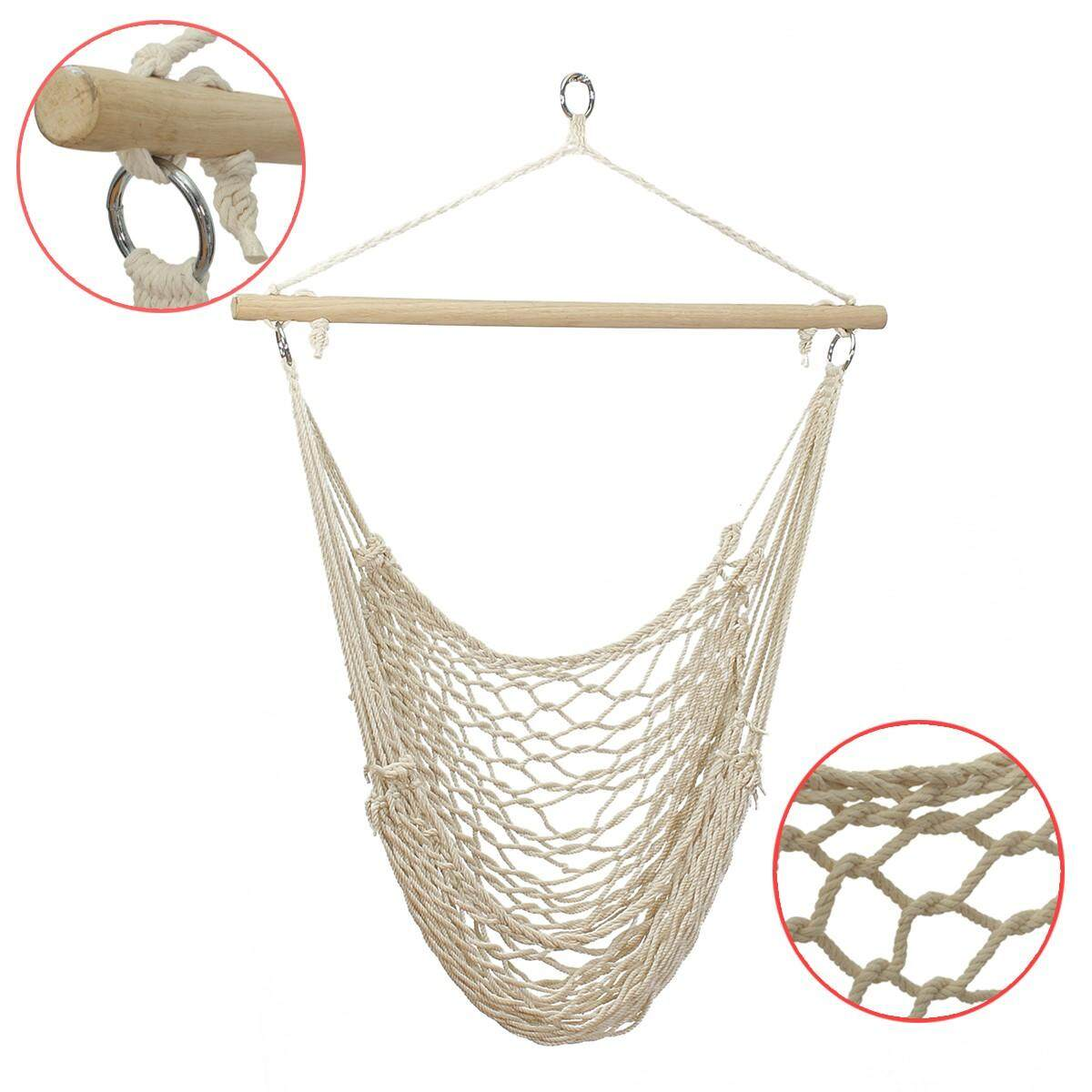 Hanging Hammock Cotton Woven Rope Wooden Bar Swing Garden Patio Chair Seat By Audew.
