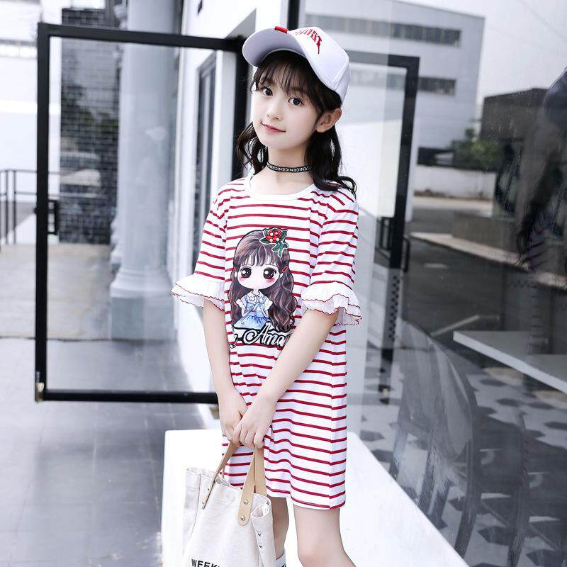 a78fb08154 Toddler Baby Girl Striped T-Shirt Dress Tops Flare Short Sleeve Tee Dress  Outfits Clothes