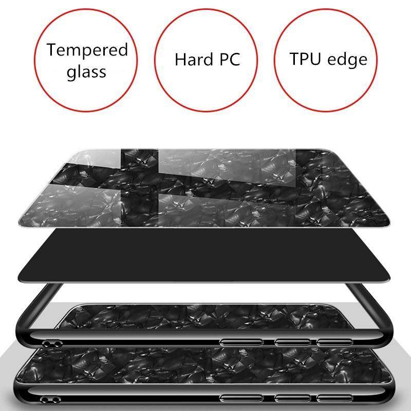 ... For Honor 9 Lite Luxury Hard Tempered Glass Case Marble Shell Pattern Design Glass Back Cover ...