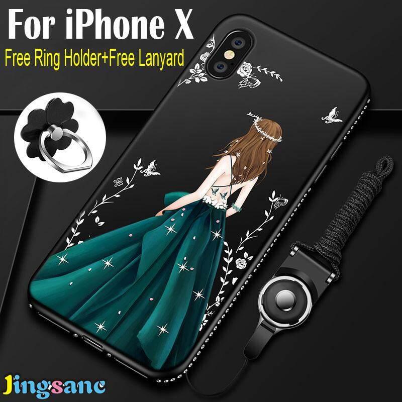Untuk iPhone X [Casing Ponsel + Lanyard + Dudukan Cincin] TPU Silikon Mewah Ultra