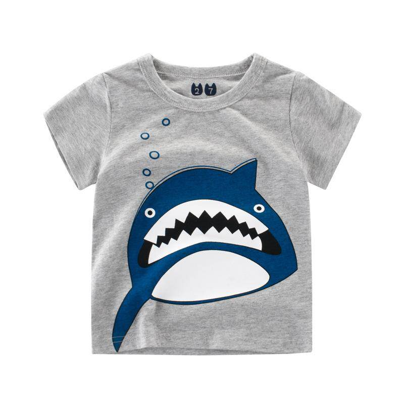 ff6d3101 Roadwayer Boy T-shirt Kid Cute Shark Baby Girl Children Tops Short Sleeve  Stitching Cotton