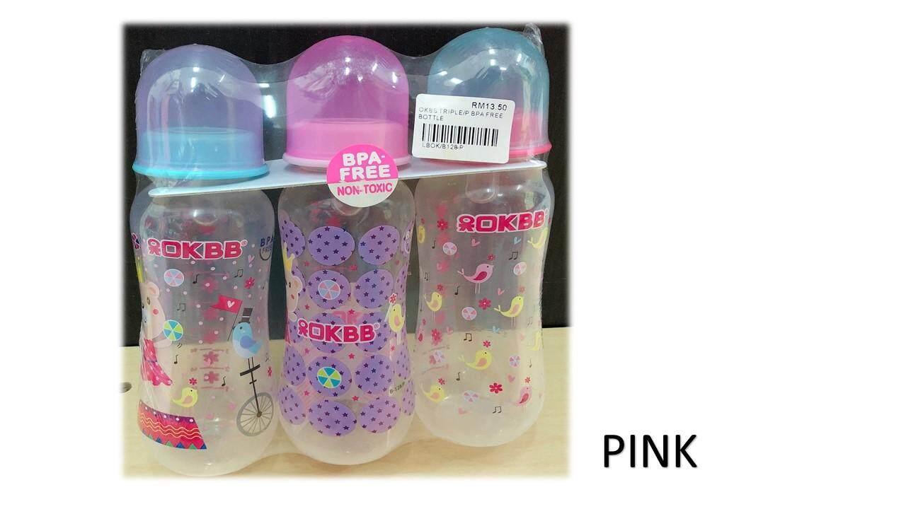 3 PCS 8oz OKBB Slim Neck Milk Bottle (BPA FREE)
