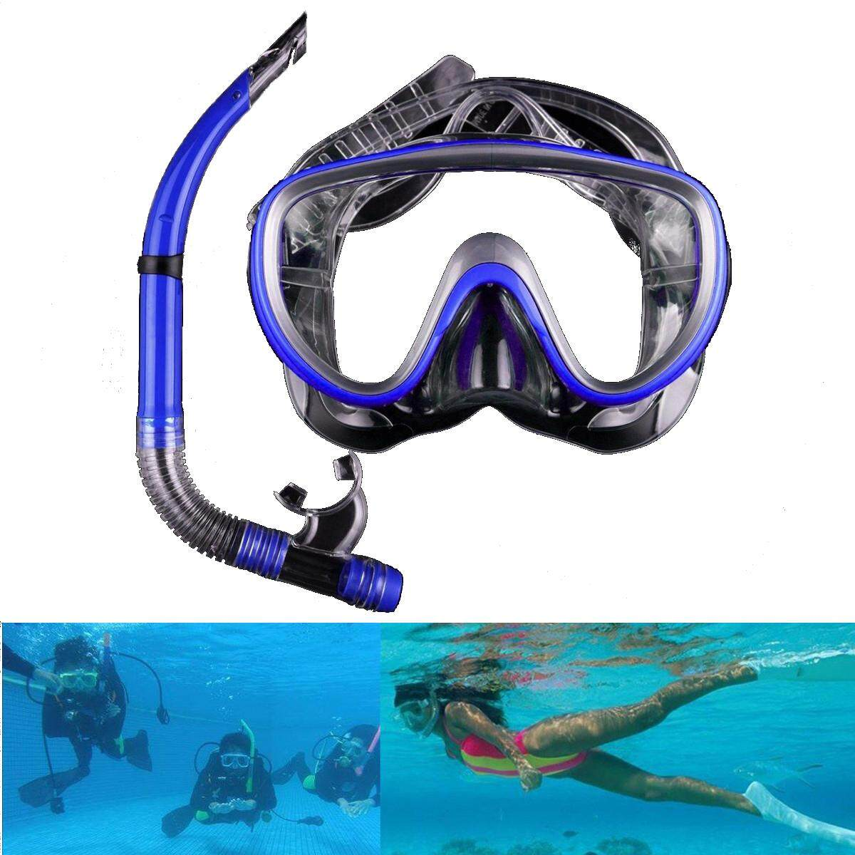 Blue Swimming Mask Diving Equipment Anti Fog Goggles Scuba Mask Snorkel Glasses