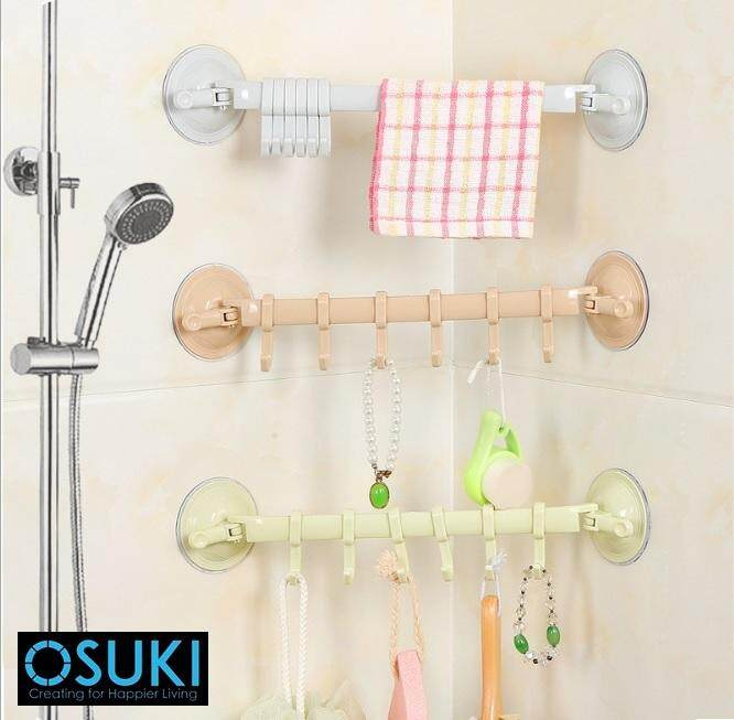 OSUKI Creative Powerful Sucker Hook For Bathroom Wall (Green)