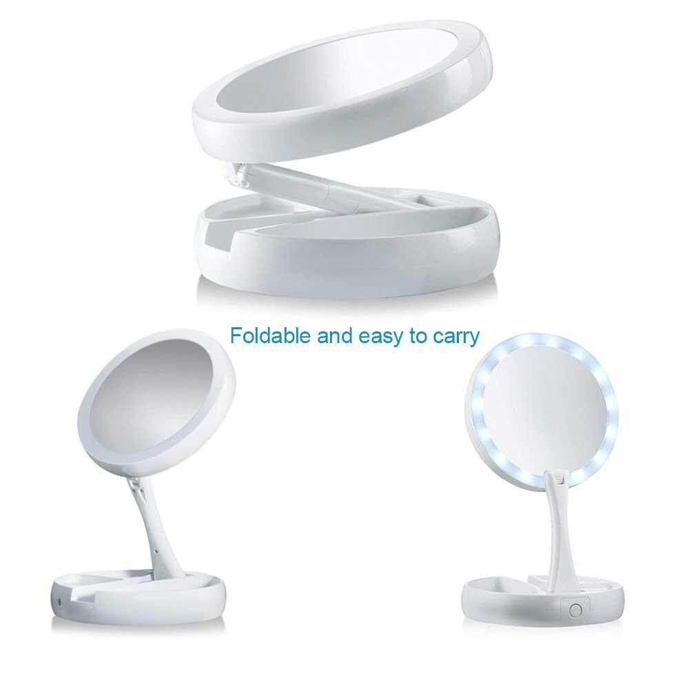 Mirrors Led Multifunctional Circular Cosmetic Mirror Portable Wireless Charging Base rose Gold