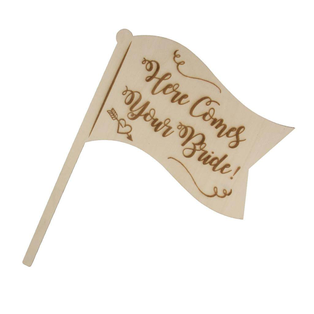BolehDeals Here Comes Your Bride Wooden Handhold Flag Sign Rustic Country Wedding Decor