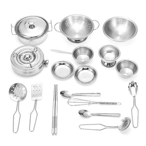 Hình ảnh 18PCS Kitchen Cooker Set Stainless kitchenware Child Kids Role Play Toy Gift