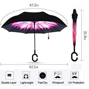 b452134f6a51 Reverse Inverted Umbrella Rain Women Men Double Layer Reverse Umbrella  C-Hook Hands Self Stand Inside Out Rain Protection Car(galaxy)