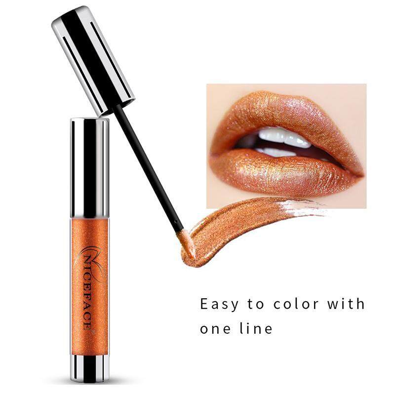 Lissng NICEFACE Non-stick Cangkir Tidak Pudar Logam Pelembap Bibir Melembapkan Tahan Lama Lipstick Cair Yang Unik Shinning & Kelembaban Formula Pelembap Bibir 4 #