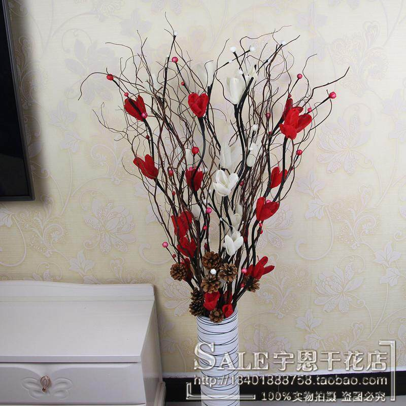 Dried Flower Floristry Furnishings Living Room Model Landing Flowers Natural Branch BINGO Contorted Willow Titoni ye mai hua Set