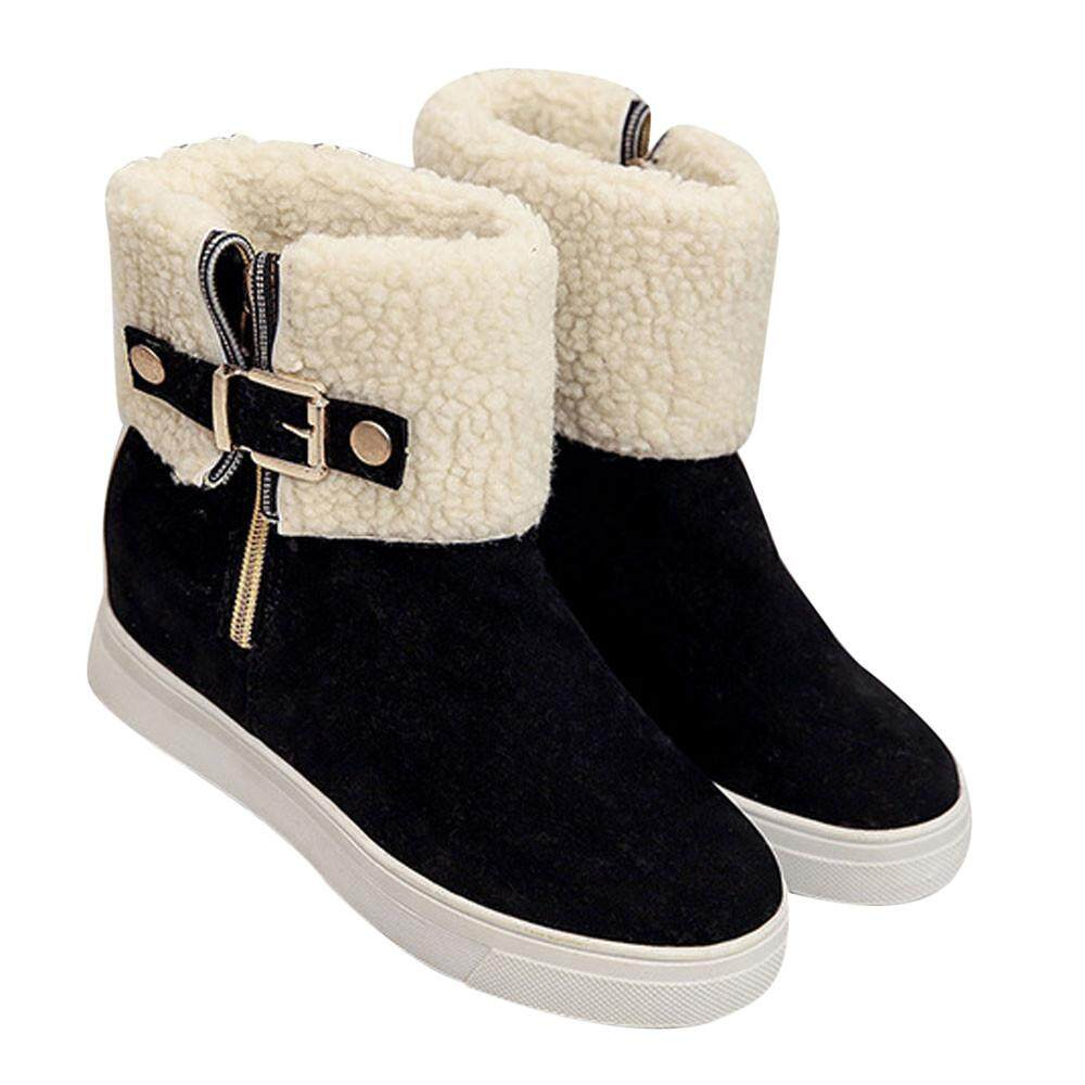 Fitur Snow Boots Round Head Dengan Kasmir Hangat Wanita Flat Boot Fashion Cocolmax Ladies Women Winter Warm Shoes Bk 35