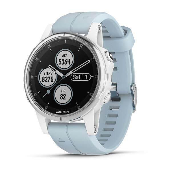 สอนใช้งาน  ยะลา Garmin Fenix 5 วินาที PLUS Multisport นาฬิกาจีพีเอสสีขาวโฟมทะเลที่ตกแต่งเค้กซิลิโคนสีฟ้า