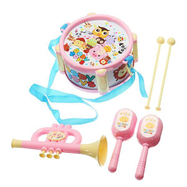 Musical Drum Horn Maracas Plastic Music Toy Set For Kids By Moonbeam.