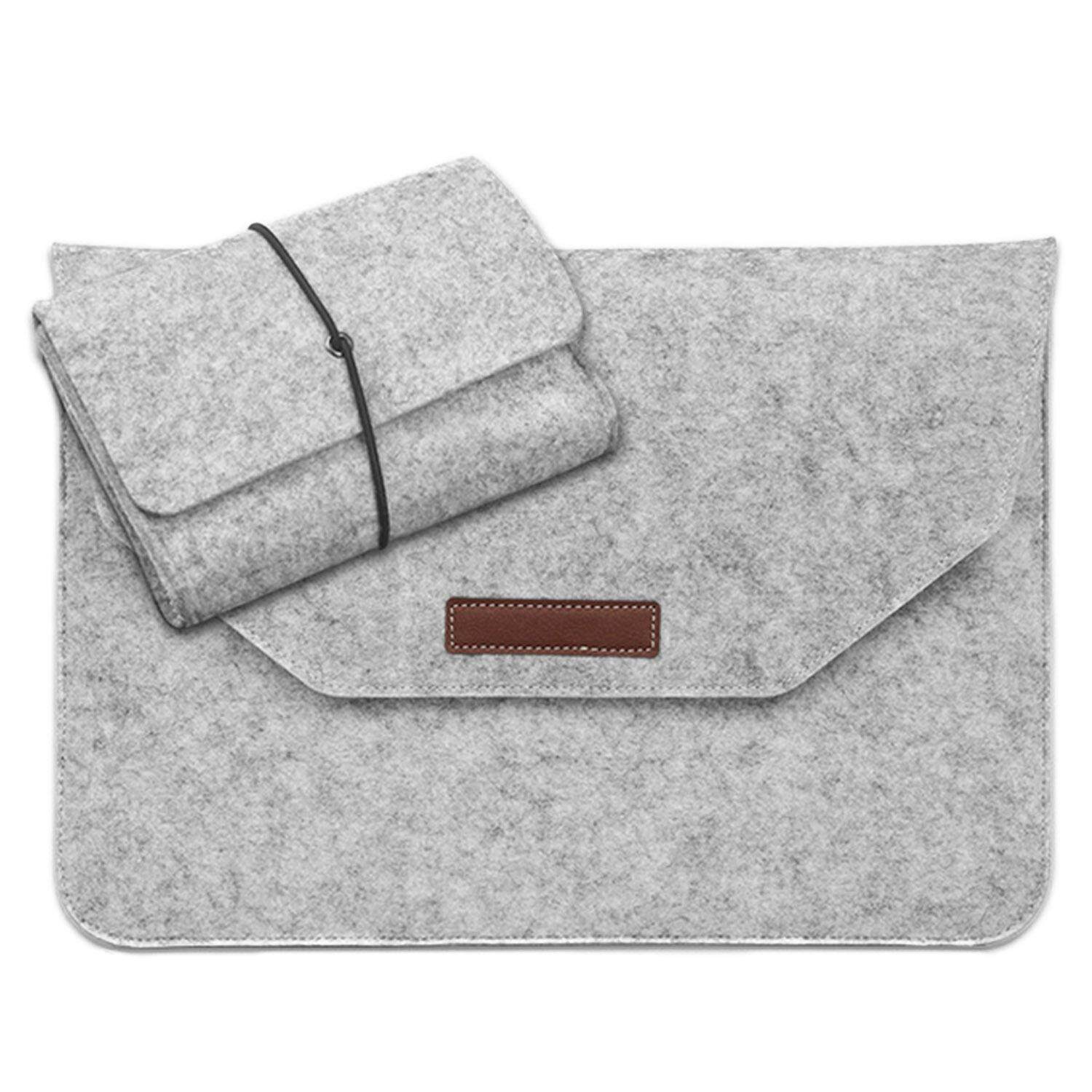 Portable Wear-resistant Protection Felt Sleeve Storage Bag Cover with Charger Pouch Case for Apple Macbook Air Surface Pro iPad Pro Lenove 12inch Laptop