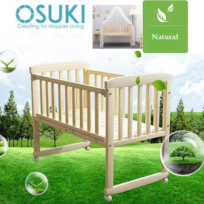 OSUKI Baby Cot Cradle (FREE Mosquito Net & Holder) Wooden Rocking