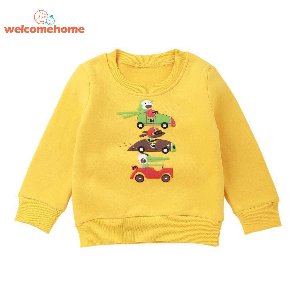 Fashion O-Neck Sweatshirt Boys Kids Clothes Casual Thick Long Sleeve Cartoon Car By Welcomehome.