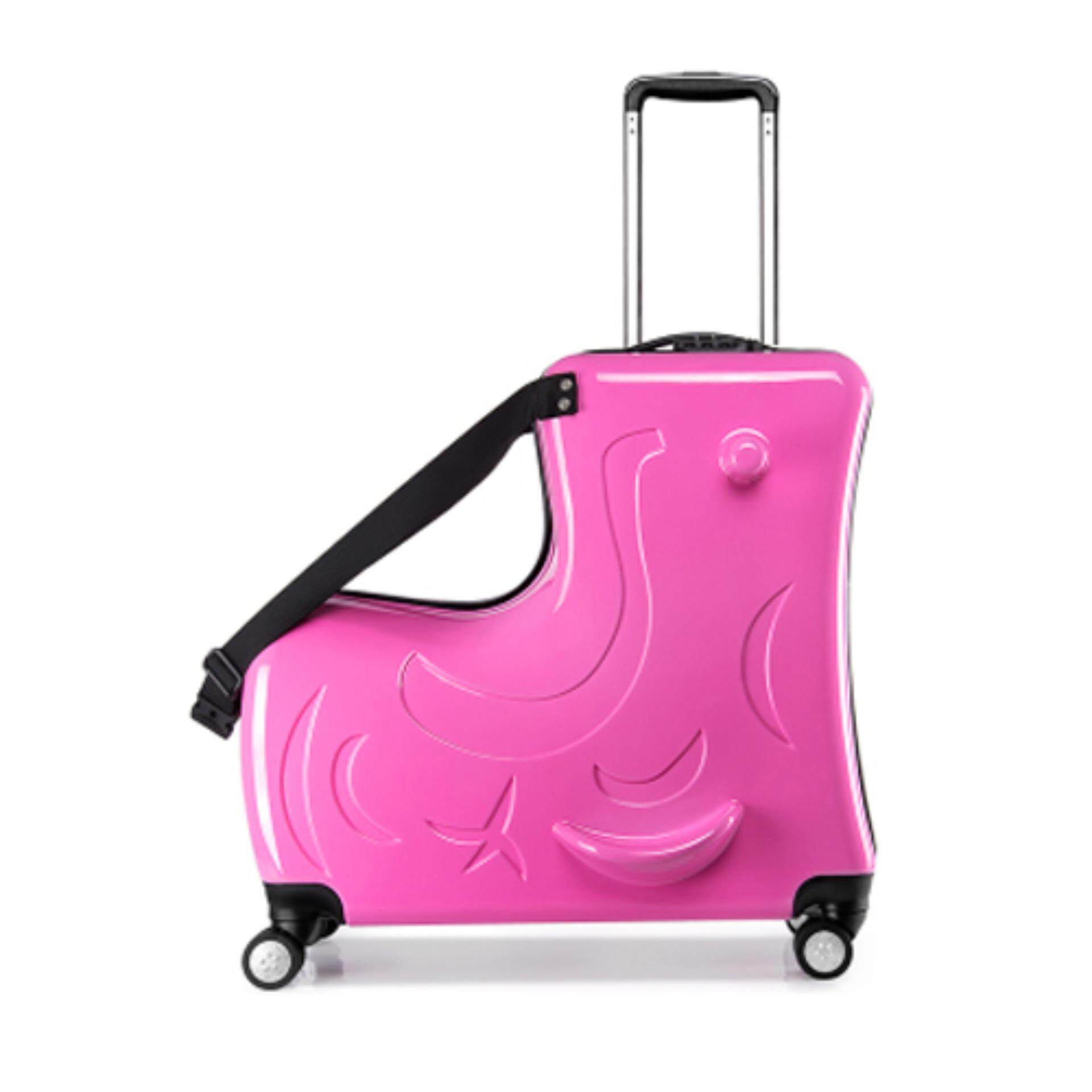 (Pink Colour)20-inch Children's suitcase Can ride to ride trolley Universal wheel Cartoon Travel bags