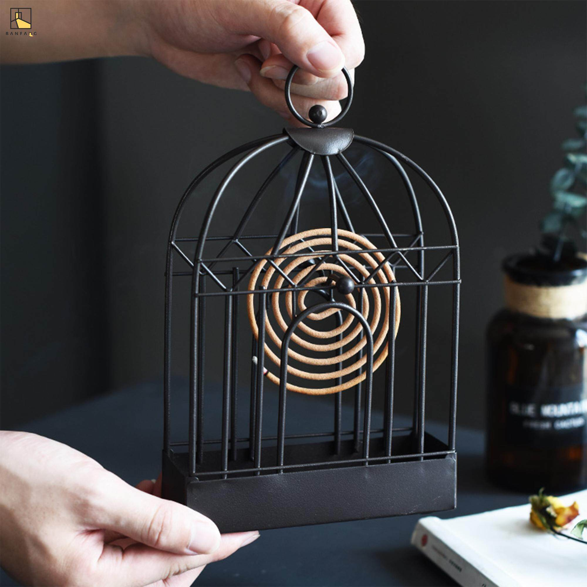 BANFANG Retro metal mosquito - repellent incense rack Nordic hollowed-out decoration furniture decoration iron decorative birdcage sandal rack