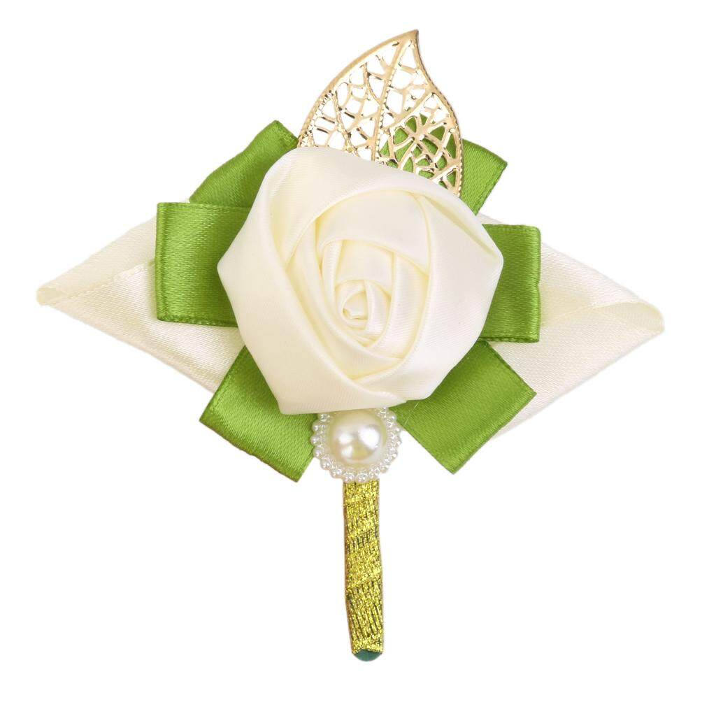 GuangquanStrade Rose Boutonniere Groom Bridal Corsages Brooch Clip Pin Wedding Decor White