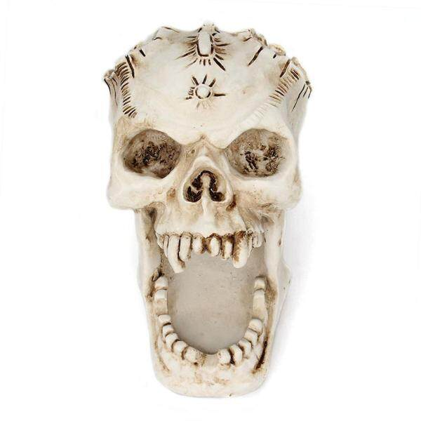 Womdee Skull Pen Pencil Holder Office Desktop, Skull Head Makeup Brush Holder Organizer for Storing Keys, Jewellery, Stationary, Spare Coins, Cosmetics or Accessories Home Office Desk Supplies