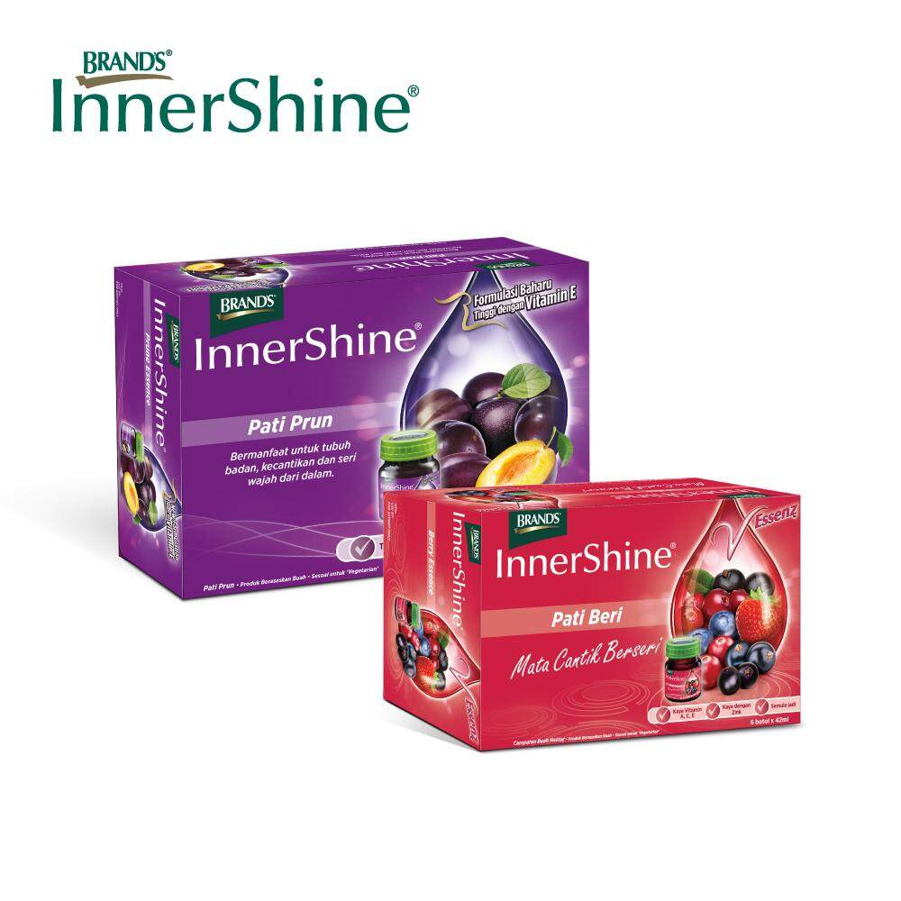 BRAND'S InnerShine Prune Essence (1x6's) + InnerShine Berry Essence (1x6's) - 12 bottles x 42ml