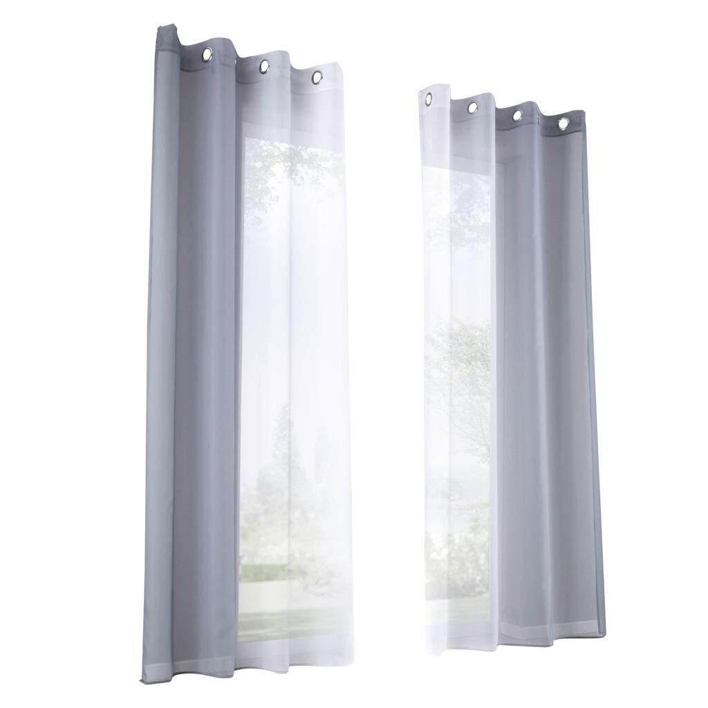 BolehDeals 2 Pieces Voile Sheer Window Curtain Grommet Panel Total Width 280cm