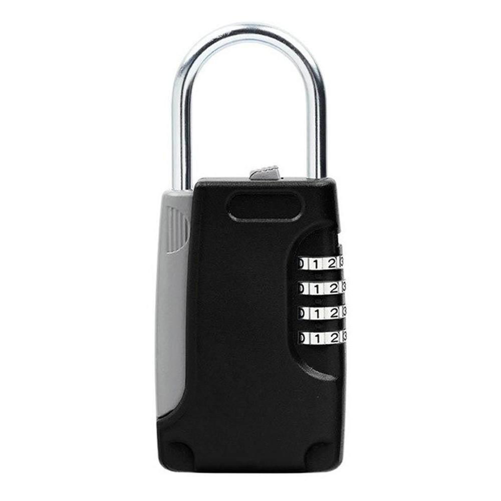 Mini Key Safe Box Hidden Organizer, 4-Digital Password Lock House Villa Car Caravan Spare Keys Storage Box Black