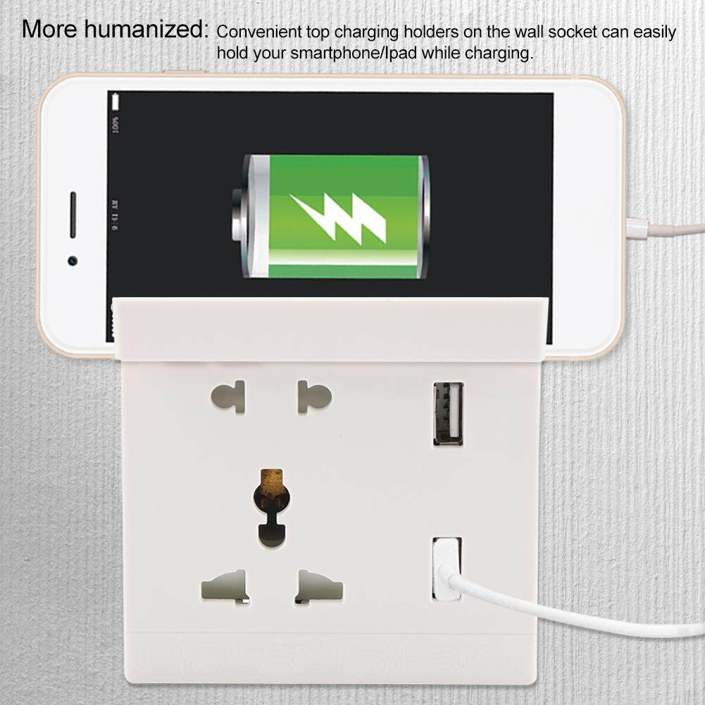 [Limited Clearance] USB Charger Outlet Wall Plate Socket Mobile Phone Holder Dual Charging