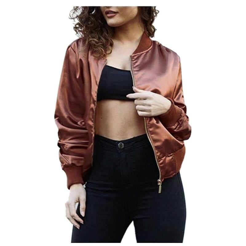 Satin Short Bomber Jacket Women Autumn winter Long Sleeve Thin Jackets Coat Zipper Outerwear Streetwear Jackets Tops(COFFEE,M/US~6/UK~10) - intl