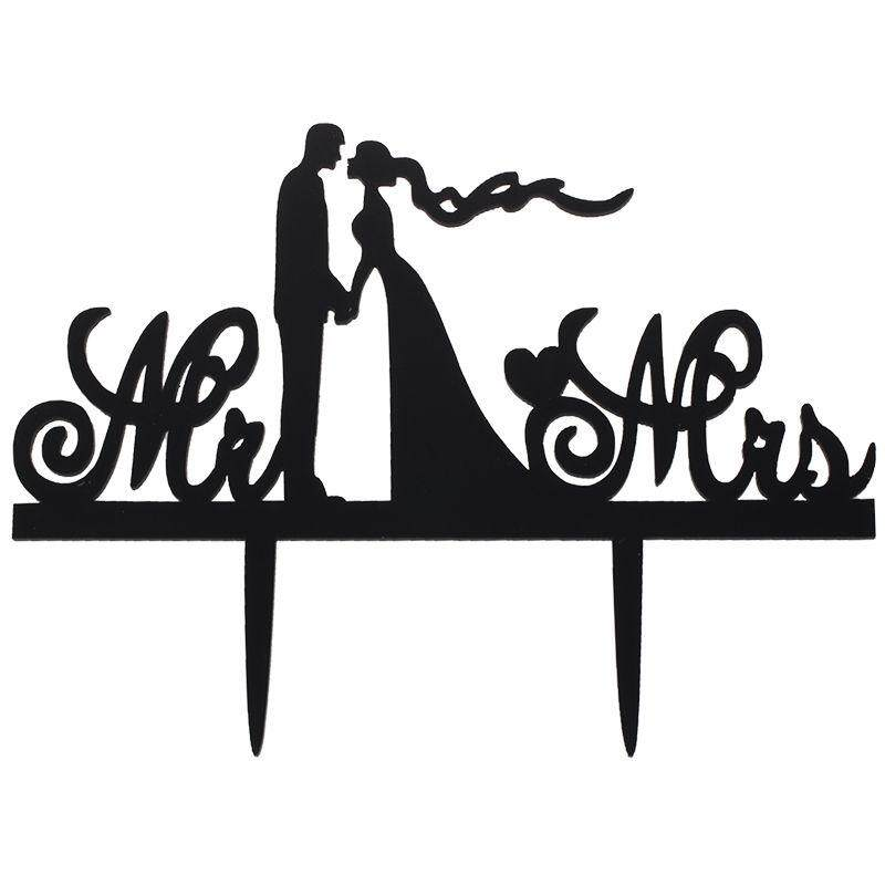 Mr & Mrs Bride And Groom Silhouette Wedding Cake Topper Pick Covered With A Protective Layer Which Should Be Torn Off Before Use 15.1*11.5cm By Fastour.