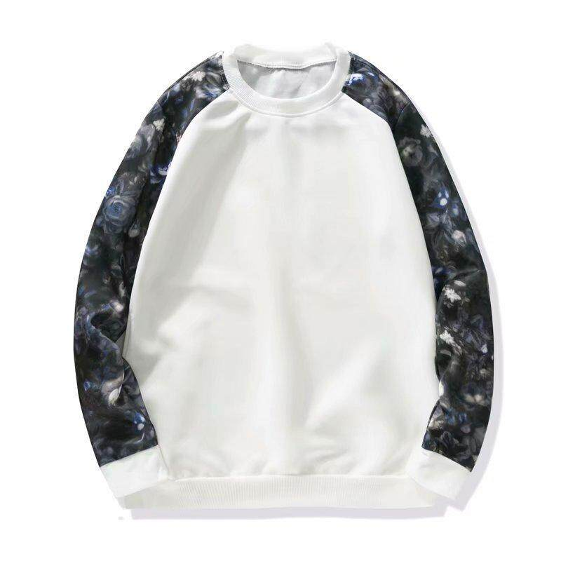 Autumn Men s Long-sleeved T-shirt Personality Stitching Sweater Korean  Style Youth Pullover Flower b0cd3ac4a