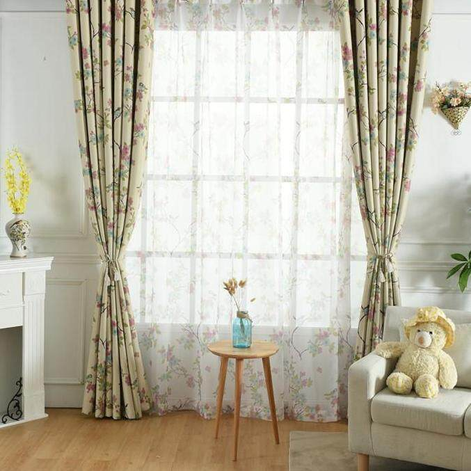[OrangeHome] Living Room Bedroom Balcony Panel Divider American Country Style sheer Curtains tulle curtain Beige 100*250 (1 pcs)(hook free) - intl