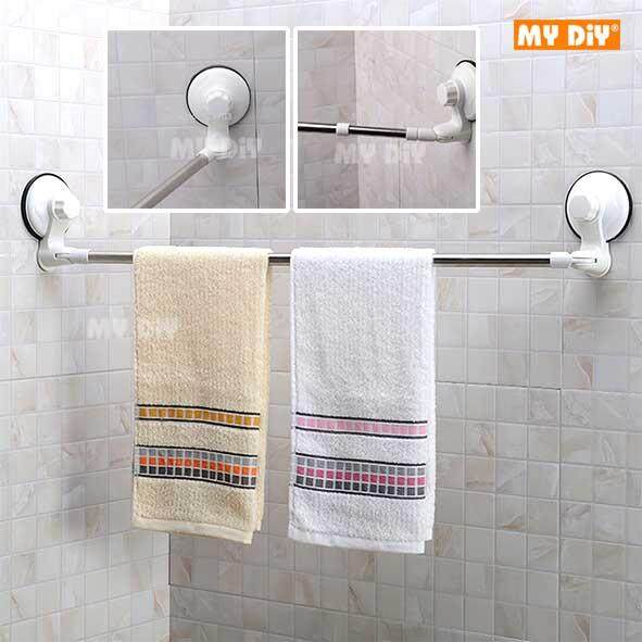 My Diy Stainless Steel Corner Towel Rail With Suction Cups