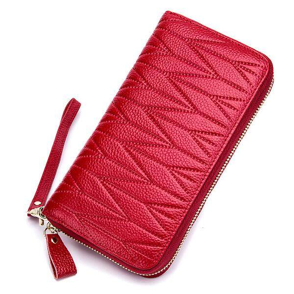 Organ wallet female long section large capacity leather zipper ladies hand bag top layer cowhide clip hand Korean version
