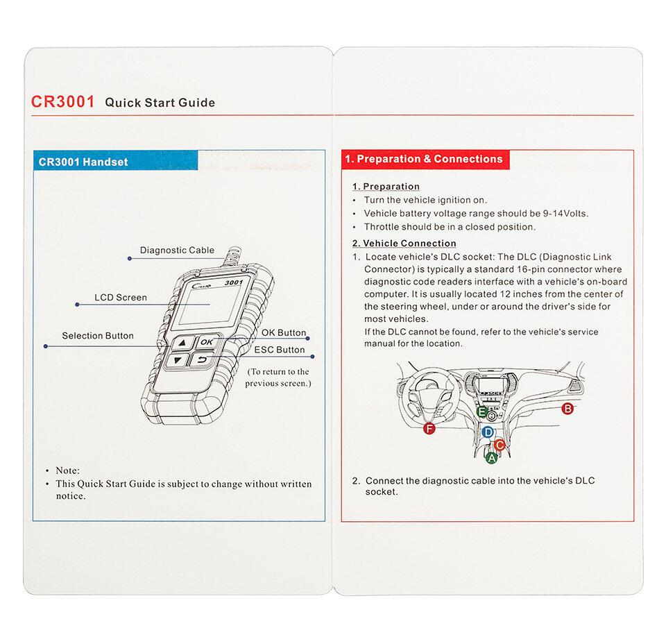 Launch CReader 3001 OBD2 Scanner Car Code Reader Automotive Diagnostic Tool