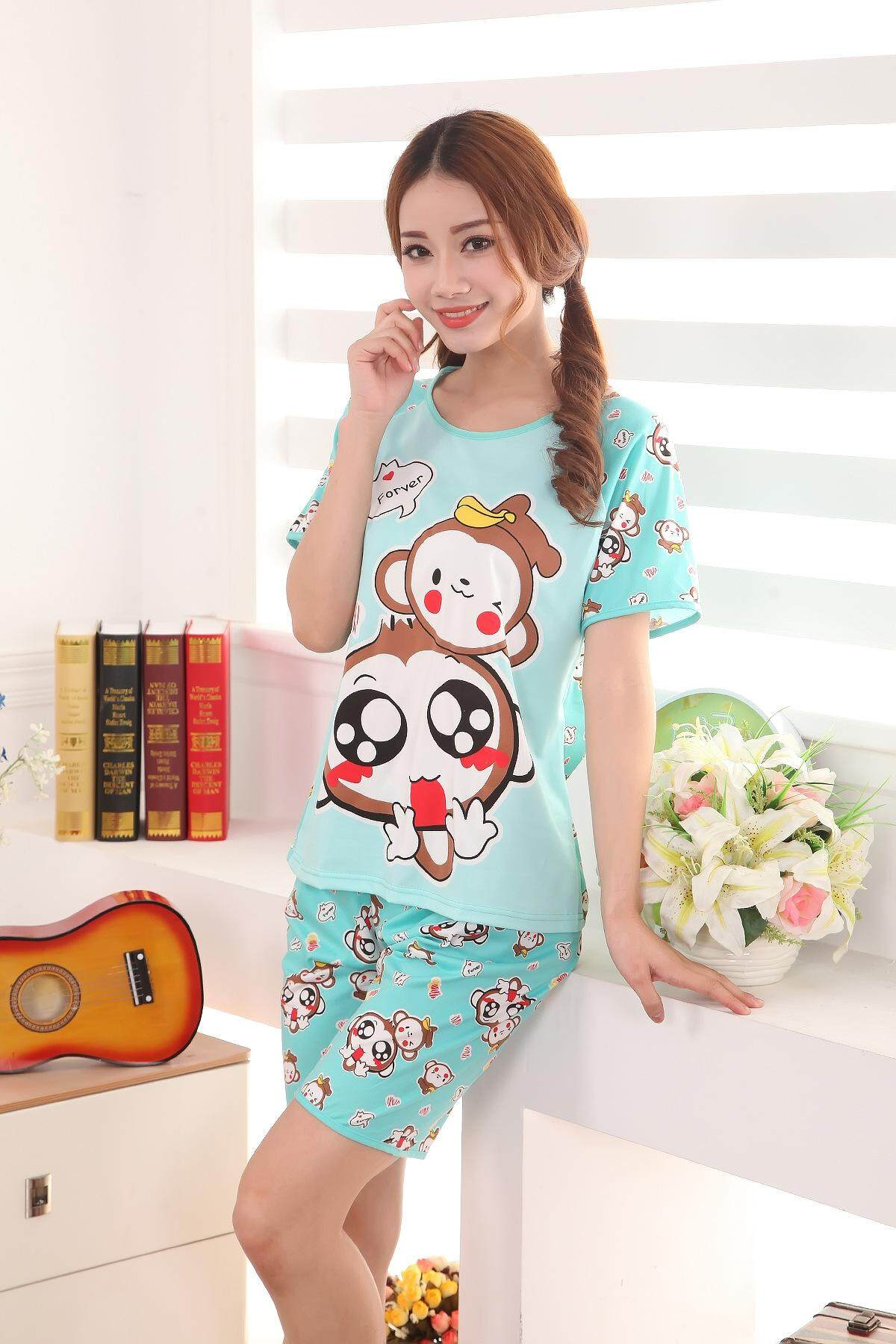 1 Set Cutie Colorful Cartoon Pyjamas Set (Random Design Send)