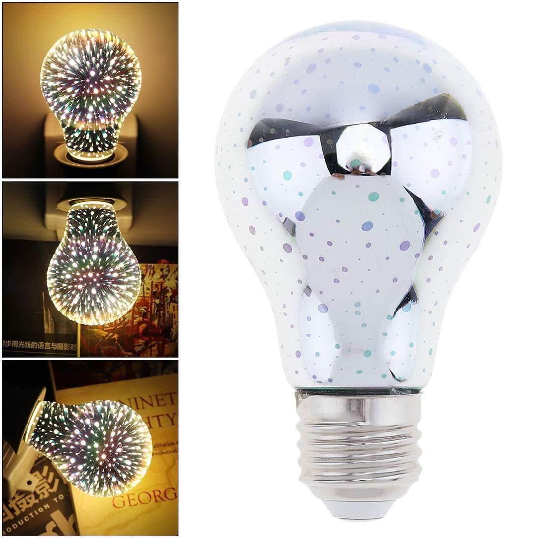 360 Degree Luminescence Angle A60 E27 AC 85-265V 3W Dazzle Color Led Light Bulb 3D Decoration Fireworks Bulb for Christmas / Holiday / Interior Decoration - intl