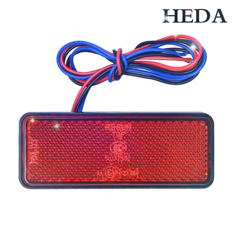 Motorcycle Electric Vehicle LED Reflector, LED Reflector, Service Brake Light, Waterproof License Plate Tail Light, Square - intl