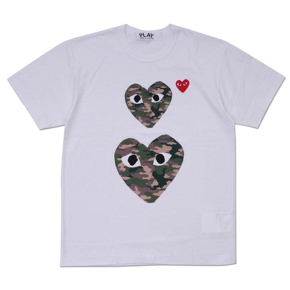 0114f48e067 COMME des Garcons CDG Play Pure Cotton Short-sleeved Double Camouflage Heart  T-Shirt