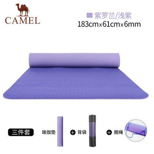 Bảng giá Camel 6mm TPE yoga mat with carrying bag stripe for beginner anti-skid thickening widening lengthening fitness exercise mat