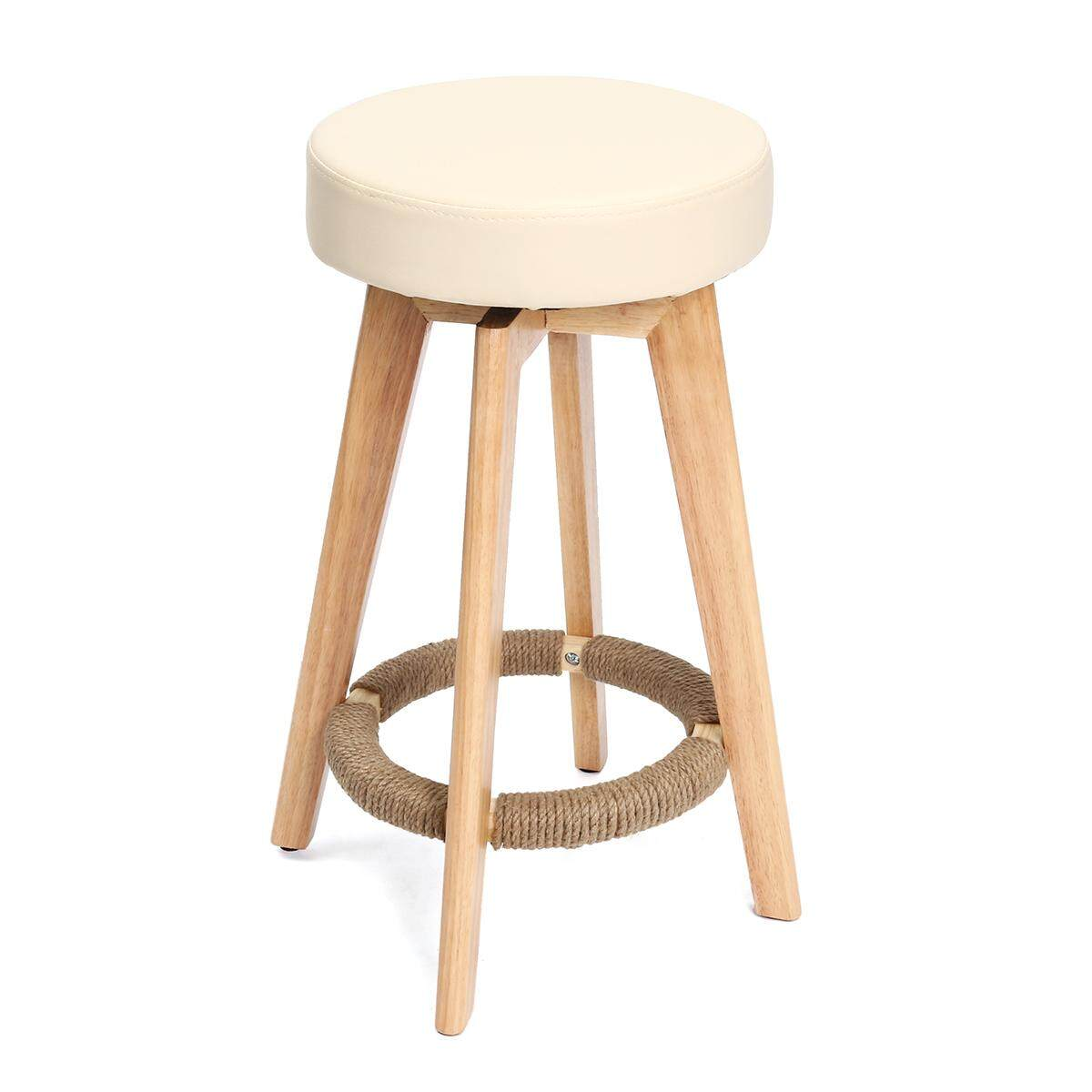 New Wooden Swivel Bar Stool Timber Kitchen Dining Chair Barstool PU Leather